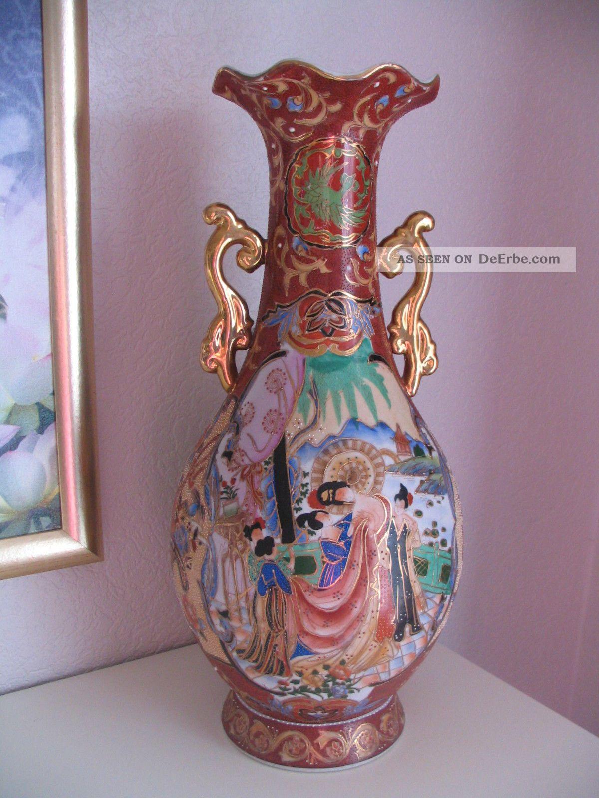 Asiatika China Bodenvase Vase Blumen Geisha Dekor 46cm Porzellan