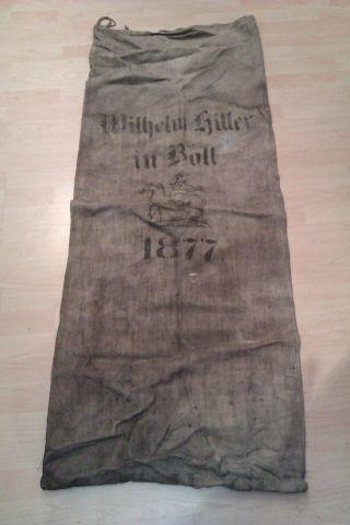 Alter Leinensack,  Jutesack,  Getreidesack,  Mehlsack Bad Boll 1877 Göppingen Bild