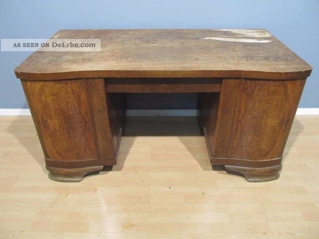 Alt Art Deco Schreibtisch Um 1940 Freisteher Eiche Furnier