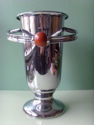 Wmf Art Deco Champagner Sekt Stand KÜbel KÜhler Mit Griff Chrom Bakelit Bild