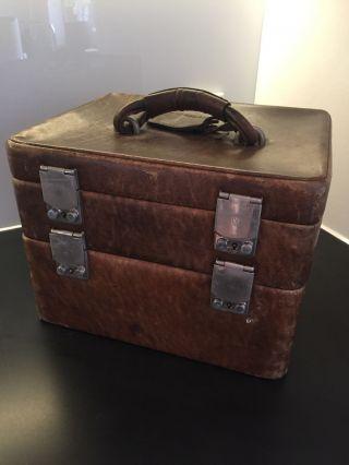 Kosmetikkoffer Leder Beautycase Echtes Leder Vintage Braun Bild