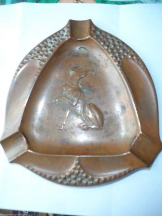 17921 Aschenbecher Jugendstil Windhund Kupfer Ashtray Greyhound Copper 1900 Bild