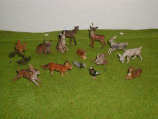Uralt Tiere Hase Reh Ziege Fuchs Vogel Erzgebirge Masse Massefiguren Massetiere Bild