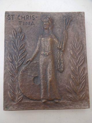 Vintage Bronze Plakette Relief Heilige Christina Signiert Eva Limberg Bild