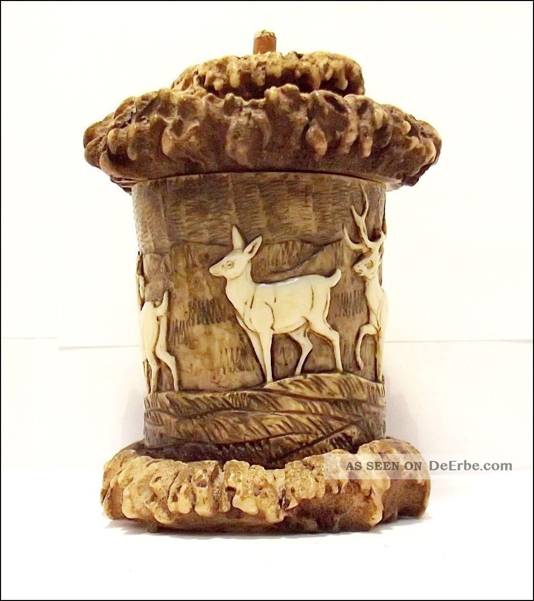 Schnupftabaksdose Aus Geweih,  Horn,  Verschnitzt Um 1900 Oder älter Beinarbeiten Bild