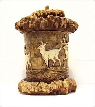 Schnupftabaksdose Aus Geweih,  Horn,  Verschnitzt Um 1900 Oder älter Bild