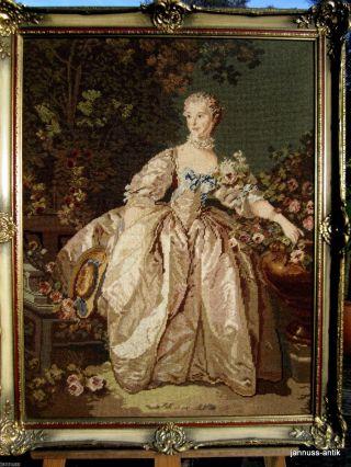 Erlesenes Wandbild Gobelin Handarbeit Prunkrahmen Barocke Frau Edel Und Wertvoll Bild