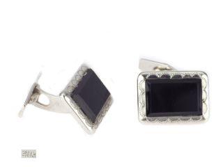 Art Deco Herren 835 Silber Onyx Manschettenknöpfe Cufflinks Handarbeit Antik Bild