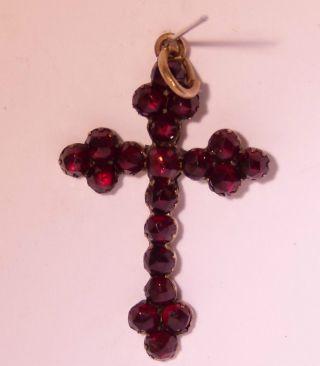 Biedermeier Granat Kreuz Bild