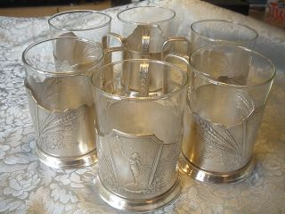 6 Teeglashalter Mit Glas Glashalter Podstakannik подстаканник Russland Udssr Ra Bild