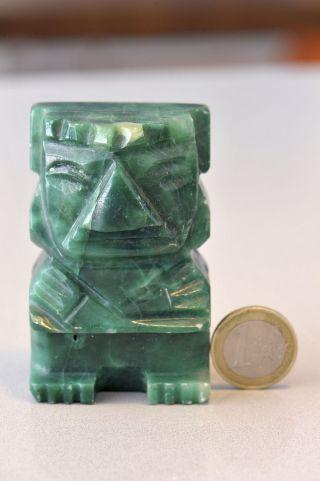Aztekische Maya Figur Massiv - Aus Jade Oder Malachit Mexiko Bild