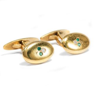 Jugendstil Smaragd & Diamant Manschettenknöpfe,  750er Gold Art Nouveau Diamanten Bild