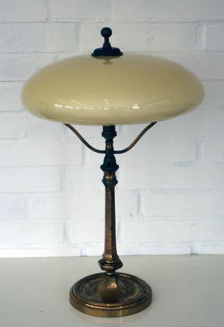 Jugendstil Tischlampe - Messing / Glas - Berliner Lampe Bild