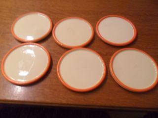 6 Kleine Tellerchen Von Wächtersbach Art Deco Elfenbein Mit Orange Rand Bild