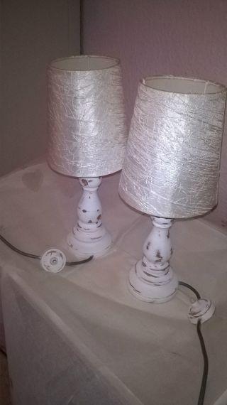 Zwei Shabby - Chic - Tischlampen Weiß/beige 34 Cm Hochtop Bild