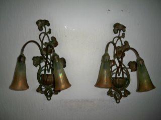 2 Wandleuchten Honsel,  Bronze Wandlampe Lampe 2 - Armig Mit Glasschirmen Bild