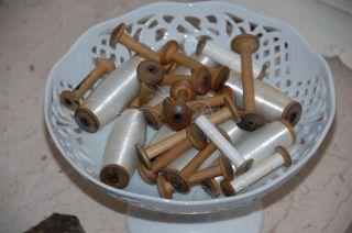 Antike Garnspulen Aus Holz - Shabby Chic Nostalgie Dekospule Spule - Schauen Lohnt Bild