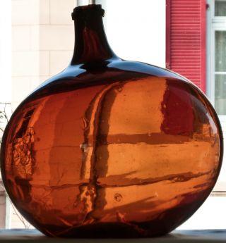 Alte Große Mundgeblasene Bonbonne Flasche Waldglas Abriss Weinballon Um 1840 Bild