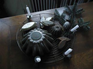 Uralte Weihnachtsdeko Fil De Fer Schokoladenförmchen Frankreich Shabby Chic Bild
