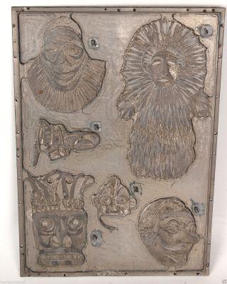 Klischee Druckstock Metall Masken Um 1900 Bild