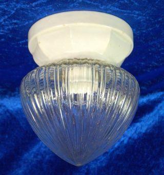Jugendstil Plafoniere Deckenlampe Um 1910 - Weißporzellan Glas Bild