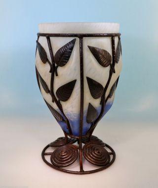 Große Art Deco Pate De Verre Vase Majorelle Stil In Eisen Montur Geblasen France Bild