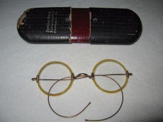 Antike Brille Mit Rund Gläsern Vergoldet.  Ca 1920 Vorzüglich Erhalten. Bild