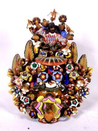 Außergewöhnliche Ton - Krippe Aus Peru,  Ca.  28 Cm H 4t506 Bild