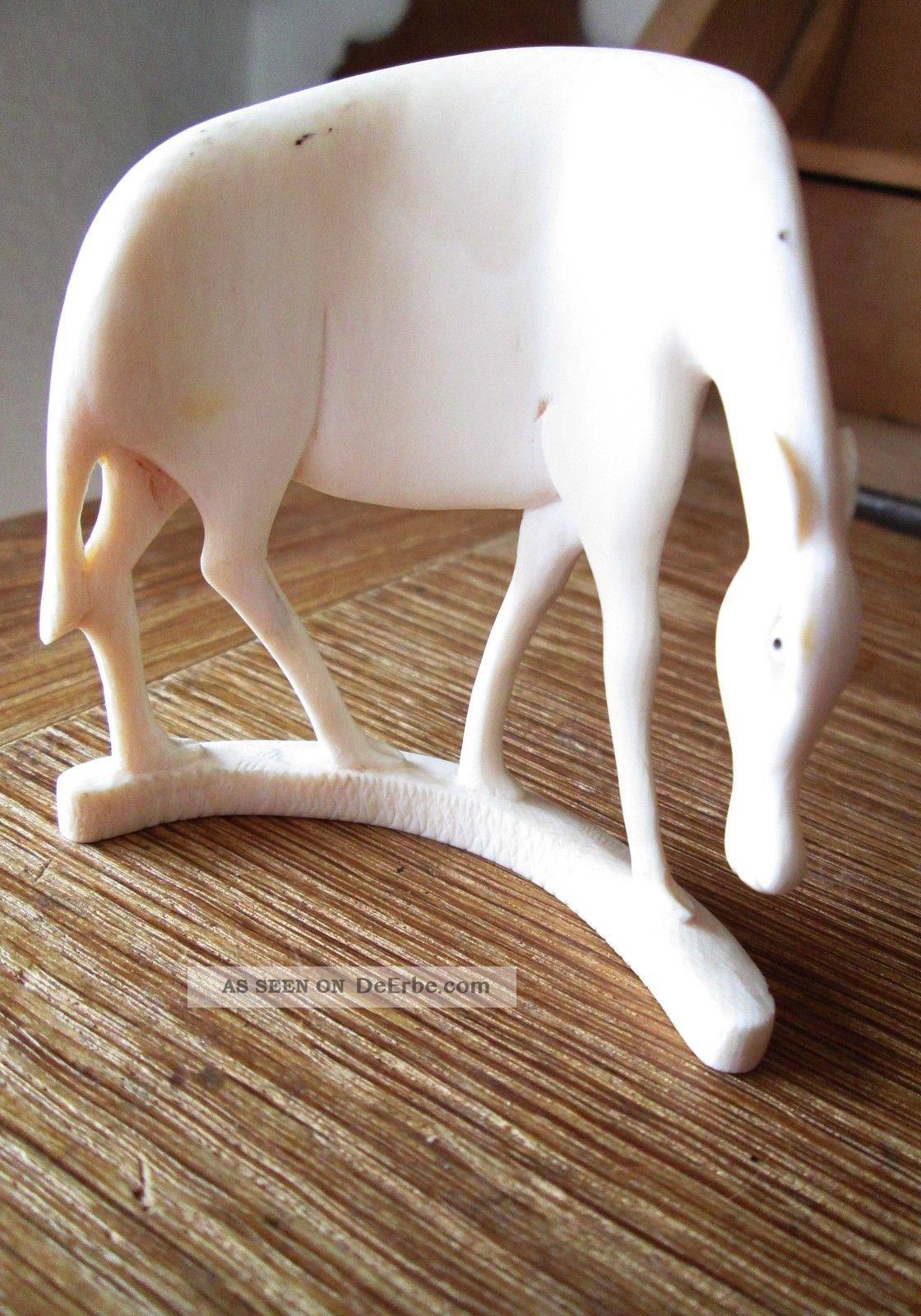Schöne Tierfigur,  Gnu Oder Gazelle,  Aus Bein Geschnitten,  Halbrunde Form Beinarbeiten Bild