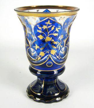 Handgeschliffener Glas Becher / Pokal Golddekor Ca.  1920 Jugendstil / Art Deco Bild
