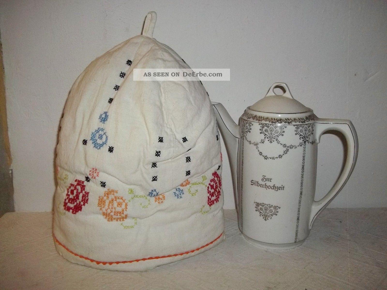 Wohnzimmerschrank Um 1950 Alte Kaffeemtze Kaffeewrmer Kannenwrmer Stoff Stickerei