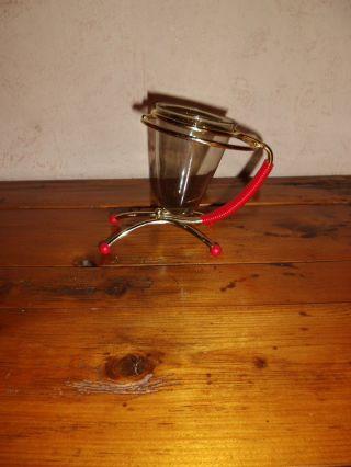 Salzstangen - Halter - Ständer - Glas - 50er Jahre Nierentisch - Ära - Metall - Rauchglas Bild