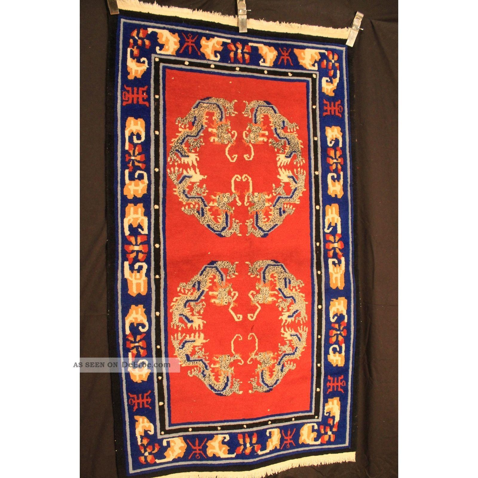 Schöner Handgeknüpfter Orient Teppich Drachen China Art