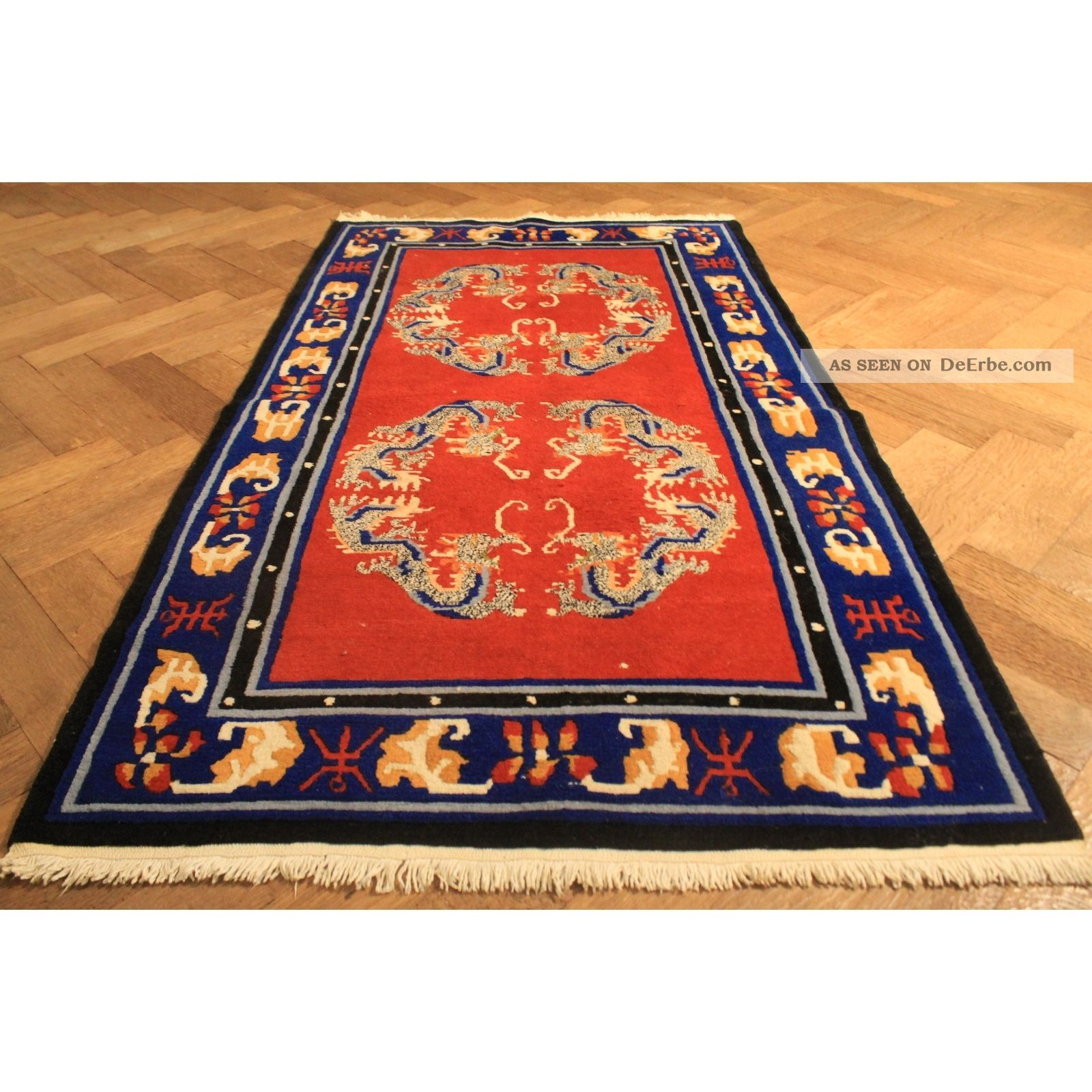 sch ner handgekn pfter orient teppich drachen china art deco old carpet tappeto. Black Bedroom Furniture Sets. Home Design Ideas