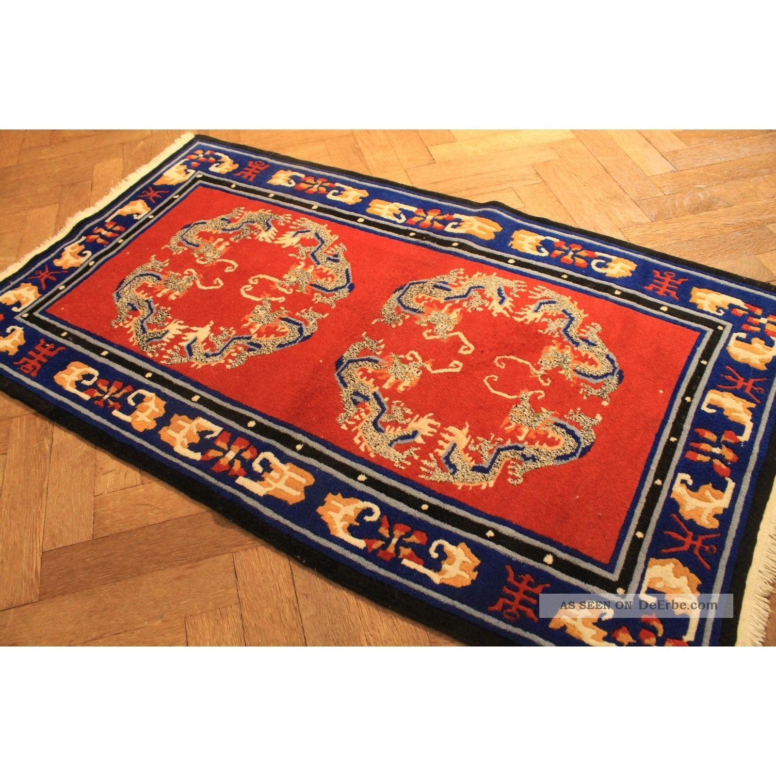 sch ner handgekn pfter orient teppich drachen china art. Black Bedroom Furniture Sets. Home Design Ideas