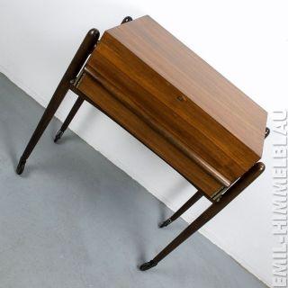 NÄhkasten Holz Mid Century Sewing Box Rockabilly Vintage 50er 60er Rollen Bild