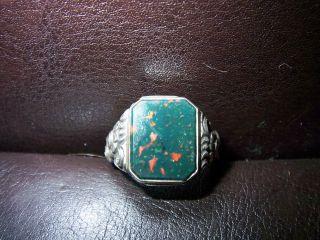 Art Deco Siegel Ring 835er Silber Blutjaspis 1920 - 1950 Bild
