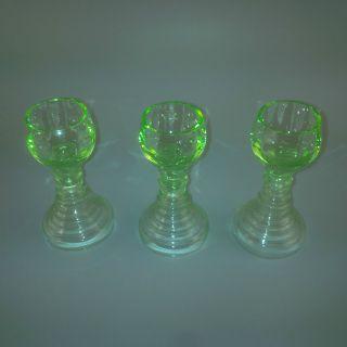 3 Kleine Alte Miniatur Glas - Römer Jugendstil Grün Schnaps - Gläser Antik Glass Bild