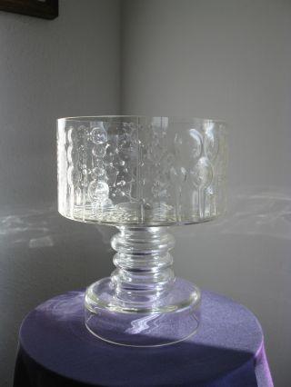 Oiva Toikka Große Fußschale Glas Schale Iittala Flora Pedestal Bowl Finnland Rar Bild