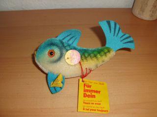 Steiff Steifftier Fisch Flossy Mit Fahne 2300/10 Gut Erhalten Bild