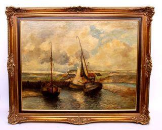 Große Norddt.  Küstenszene Mit Seglelschiffen Um 1900 110x90cm Bild