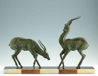 Große Art Deco Skulptur Frankreich Um 1930 Antilopen Sculpture Figure Bild