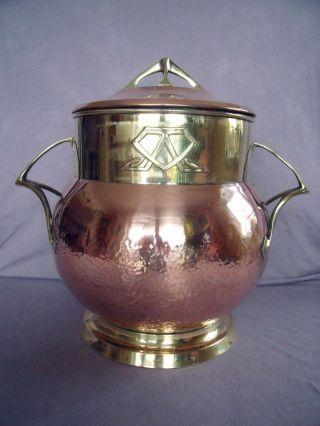 Schöne Bowle,  Jugendstil Um 1900,  Kupfer Messing Bild