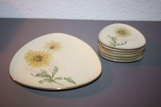 Hutschenreuther 7 Teile Anbietset Teller Konfekt Konfektteller Chrysantheme 50er Bild