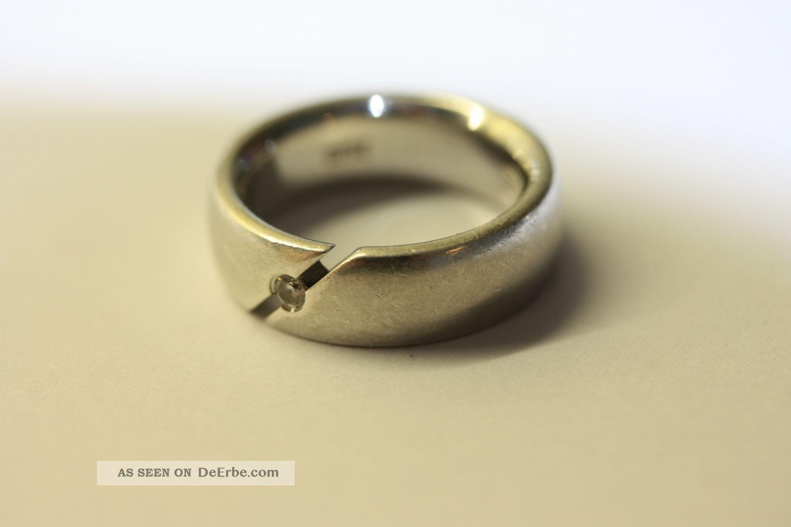 Ring Mit Weißen Stein Im Brillantschliff Silber 925 Fossil Ringe Bild