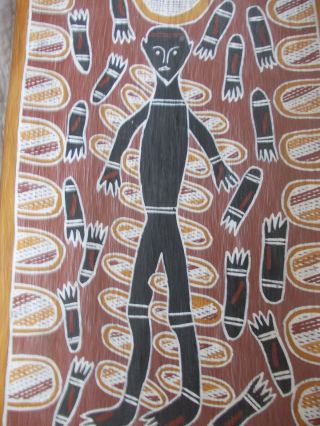Aboriginal Dot Point Painting Bark Rinde Arnhemland 1972/83 Dachbodenfund 82cm Bild
