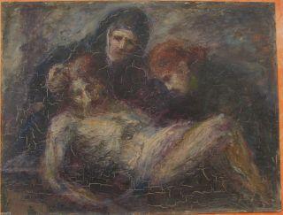 Antikes Ölgemälde Jesu Grab Niederlegung Jesu Tot Sign.  Pfaff Bild