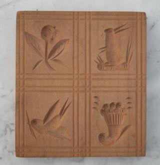 Antike Springerles Form Backmodel Holz Model Spekulatius 20 - 30er Jahre 4 Motive. Bild