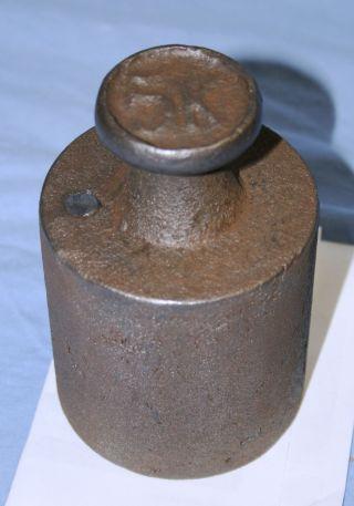 Altes Gewicht Aus Eisen 5kg,  Gewicht Für Dezimalwaage Mit Punze / Türstopper Bild