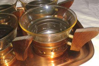 Teeservice Schott Jenaer Glas Kupfer Holz Teak? Teegläser Tablett Vintage 60th Bild